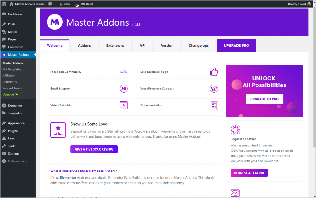 Master Addons Settings Welcome