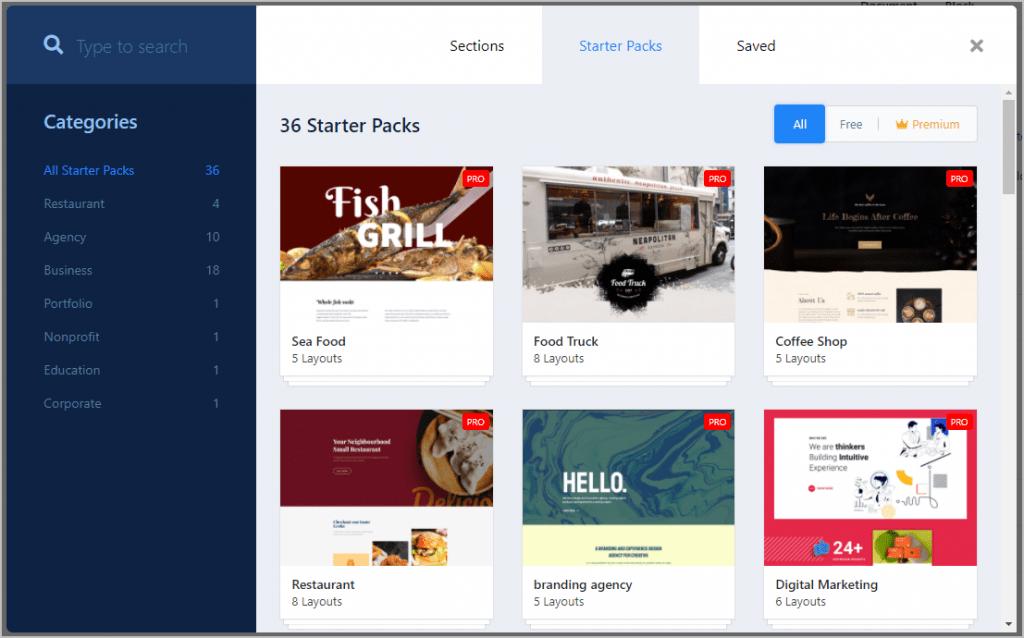 Qubely Starter Packs Screenshot