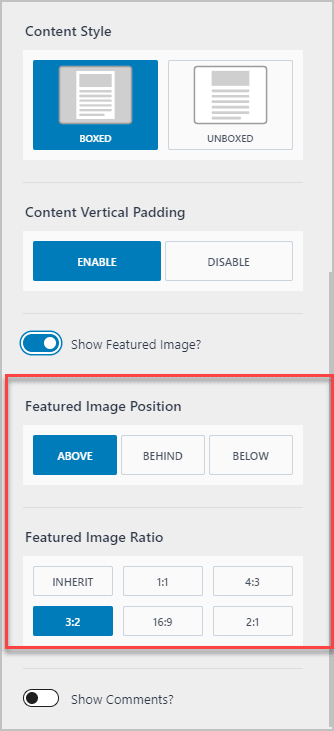 Featured Image Options Shown On Toggle