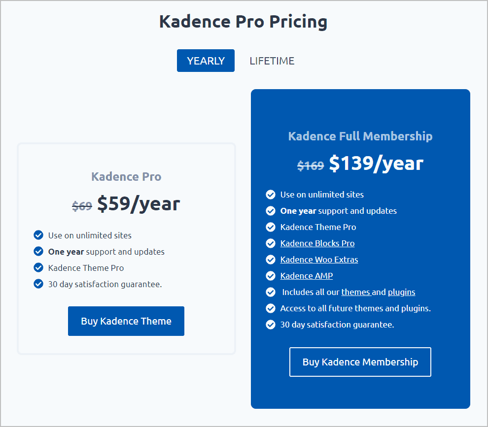 Kadence Annual Packages
