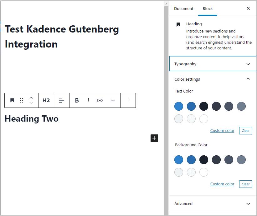 Kadence Color Palette And Gutenberg Integration