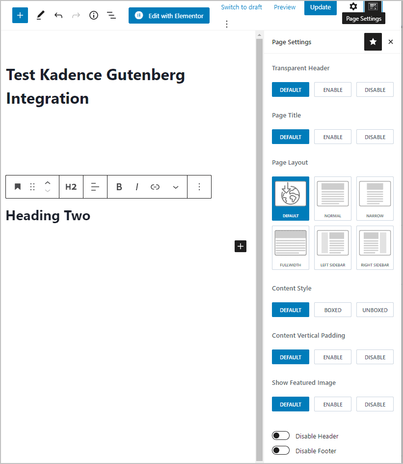 Kadence Page Setting Overrides