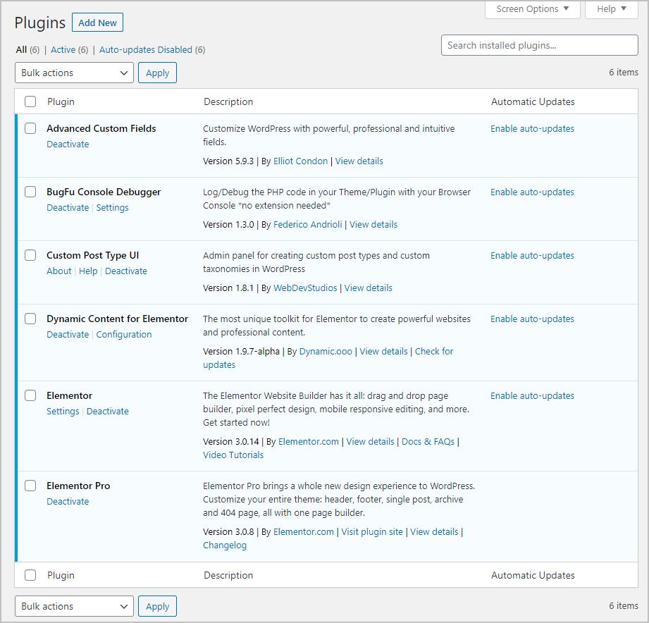 Plugins Installed