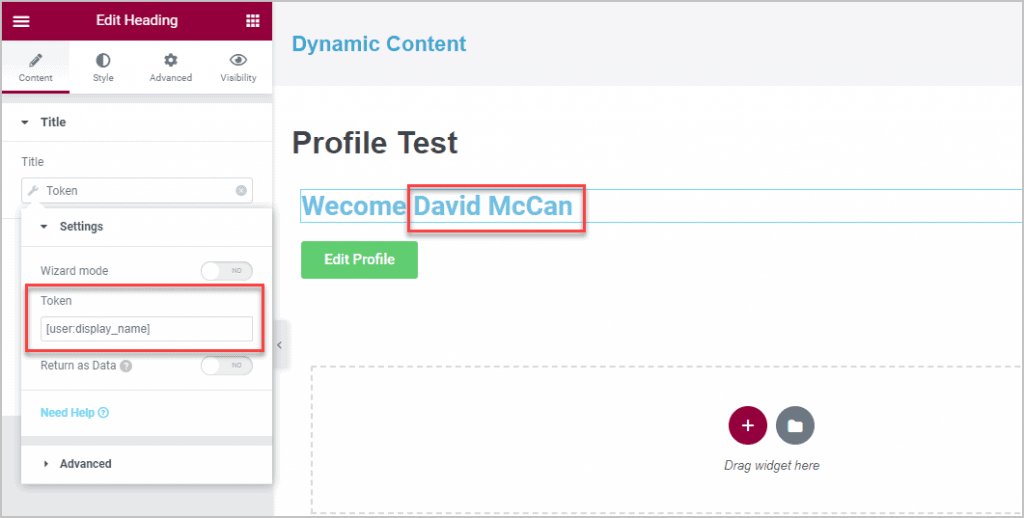 Showing The Logged In Users Display Name In The Heading