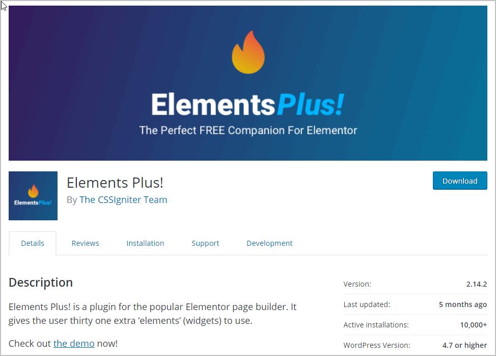 Elementsplus On Wp Org Website