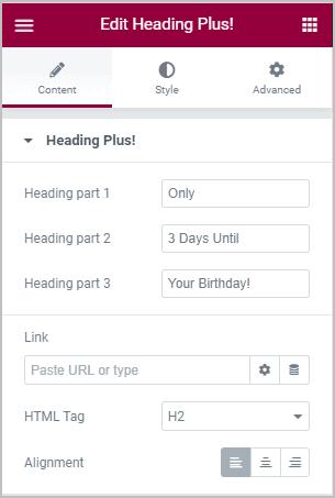 Heading Plus Content Settings