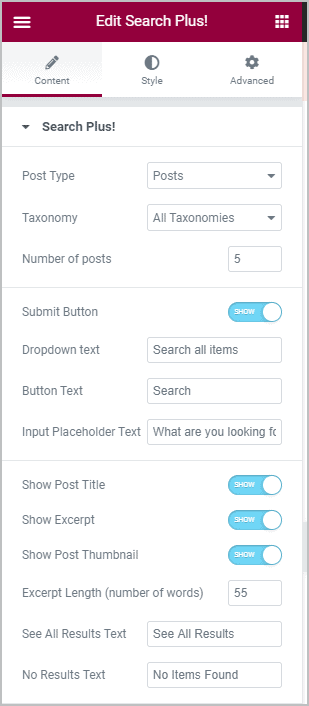 Search Plus Content Settings