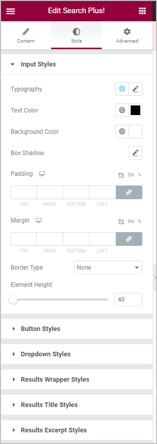 Search Plus Style Settings