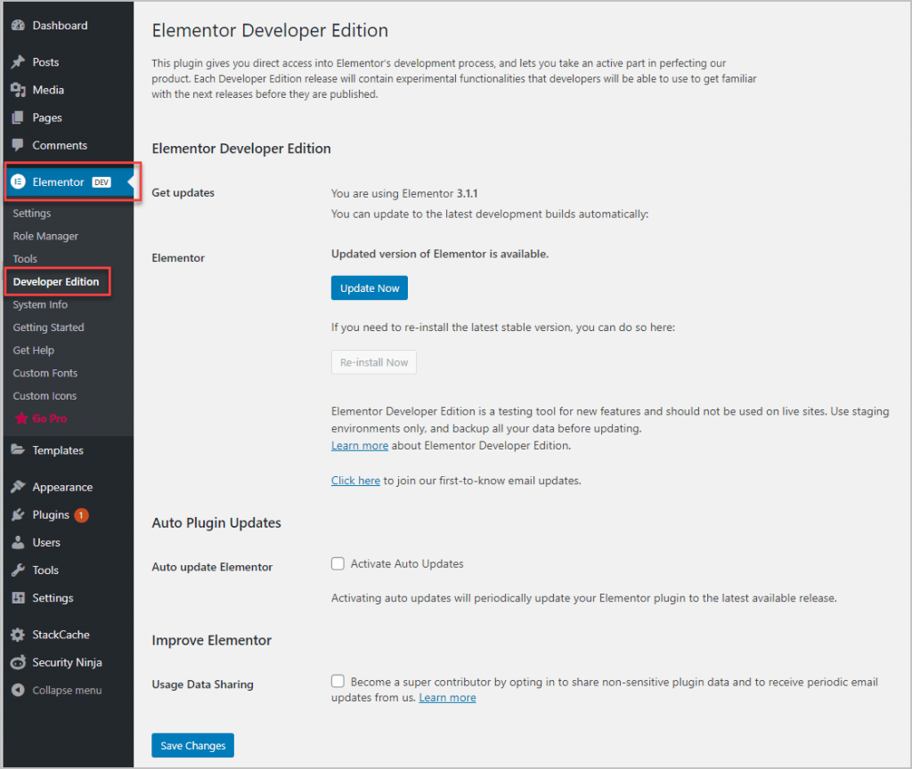 elementor developer edition menu