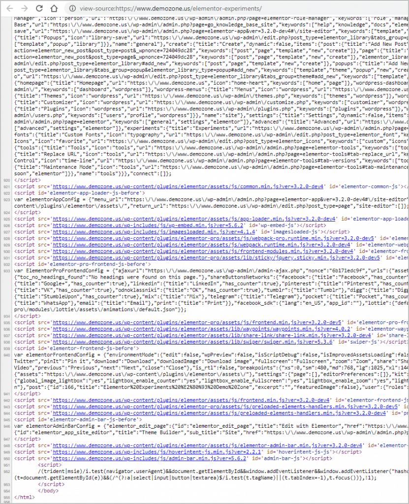 source code unoptimized page