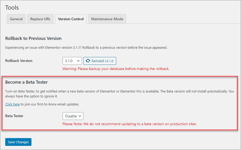 versions tab for elementor beta