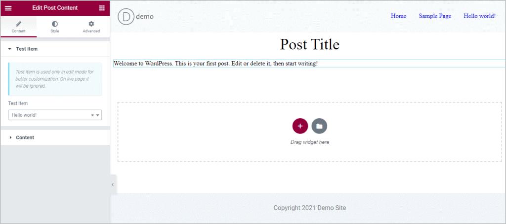 adding content widget