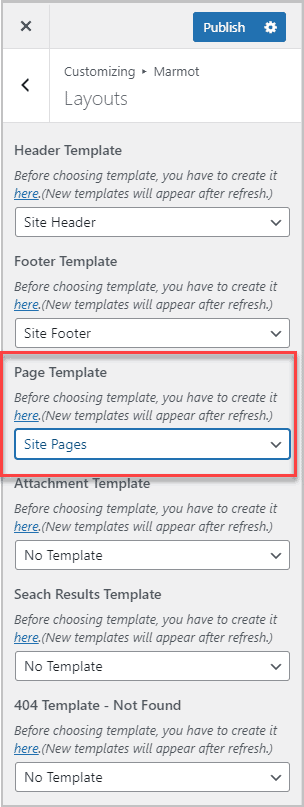 assigning page template