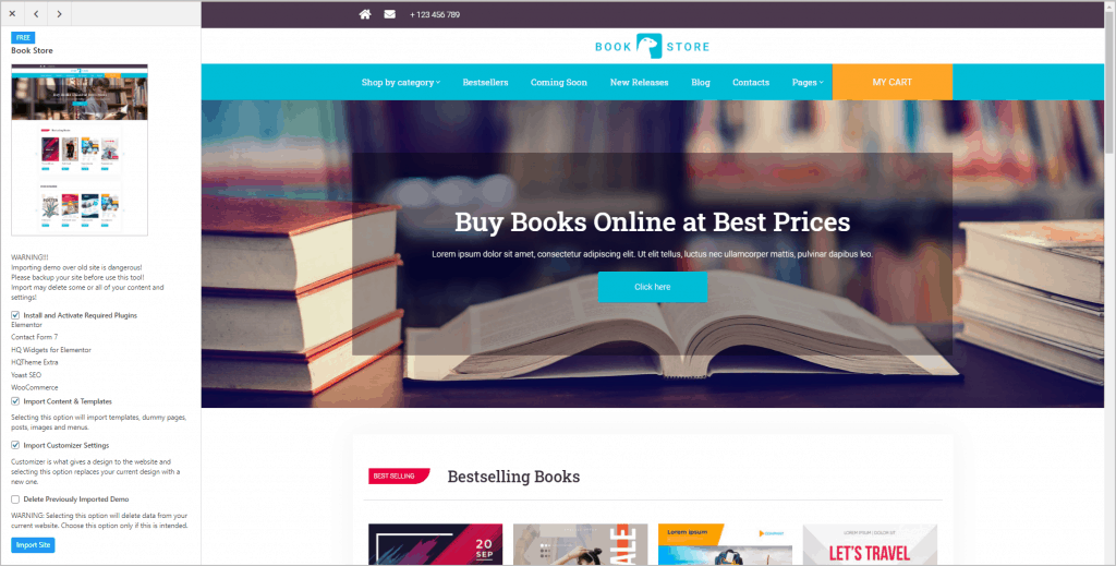 import bookstore site screen