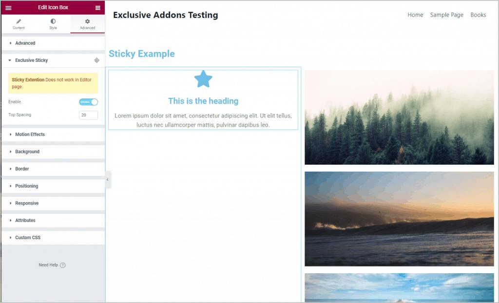 sticky setting