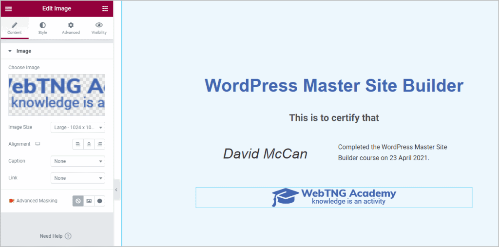 logo added to certificate
