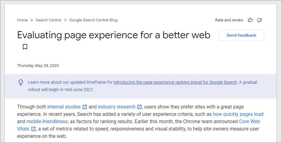 Google announces core web vitals