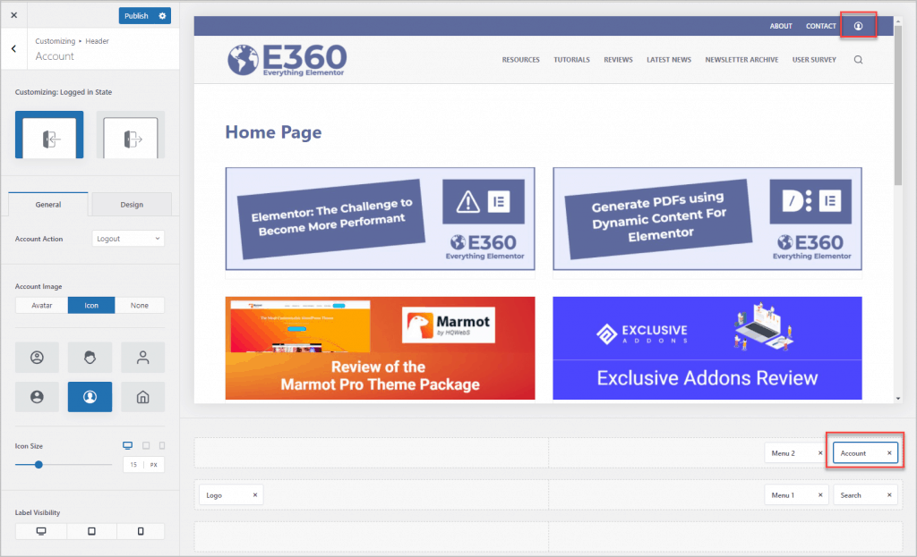 account menu item options