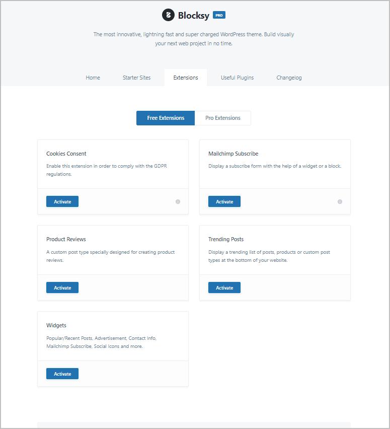 blocksy menu free extensions