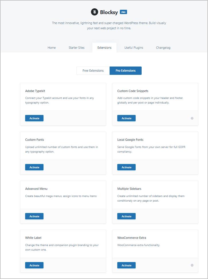 blocksy menu pro extensions