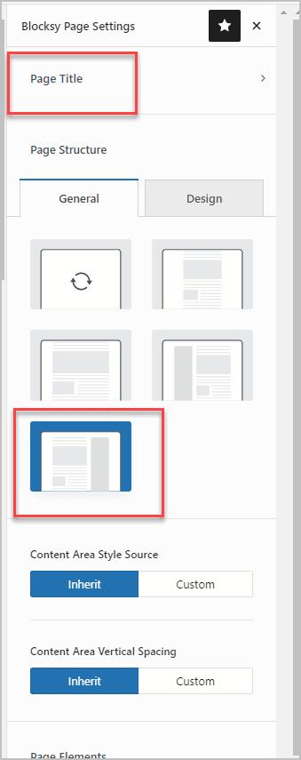 blocksy page settings