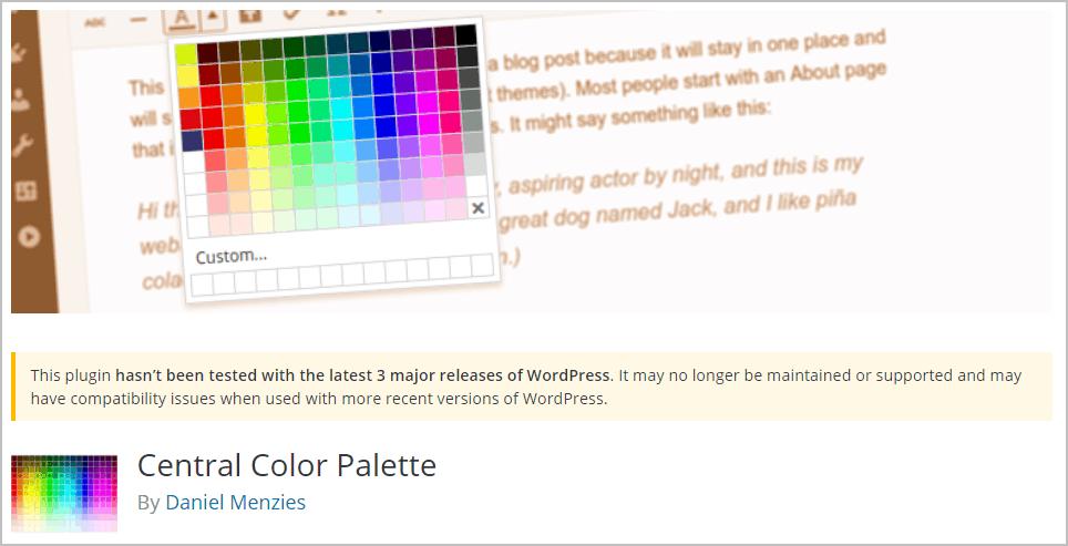 central color palette on wordpress org