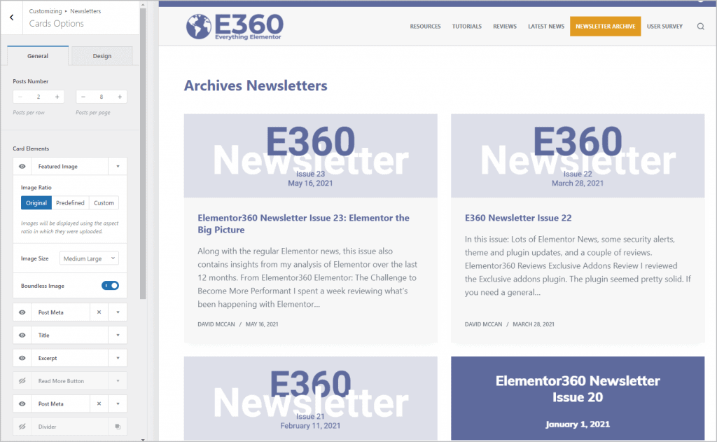 newsletter archive settings