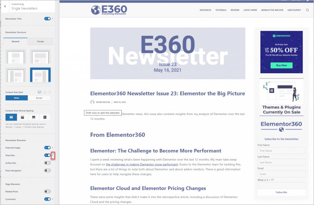 newsletter single customized