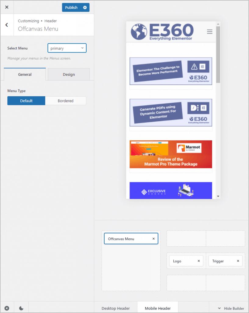 selecting menu for mobile