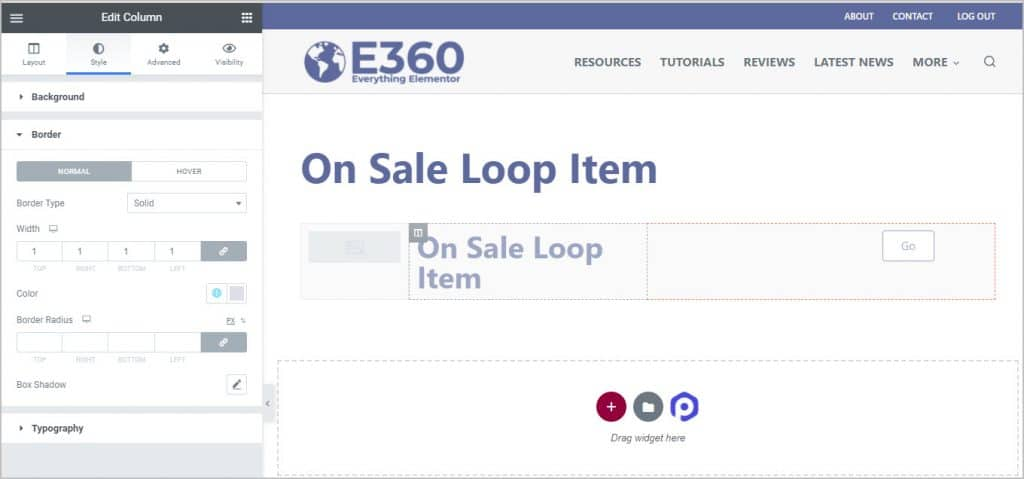 set loop item background and column borders