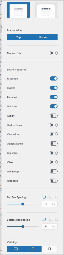 share box options