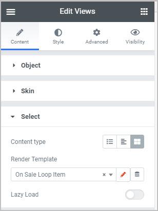 views select options