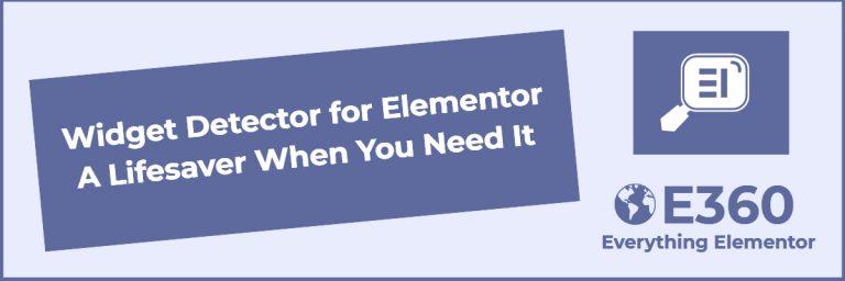 widget detector for elementor