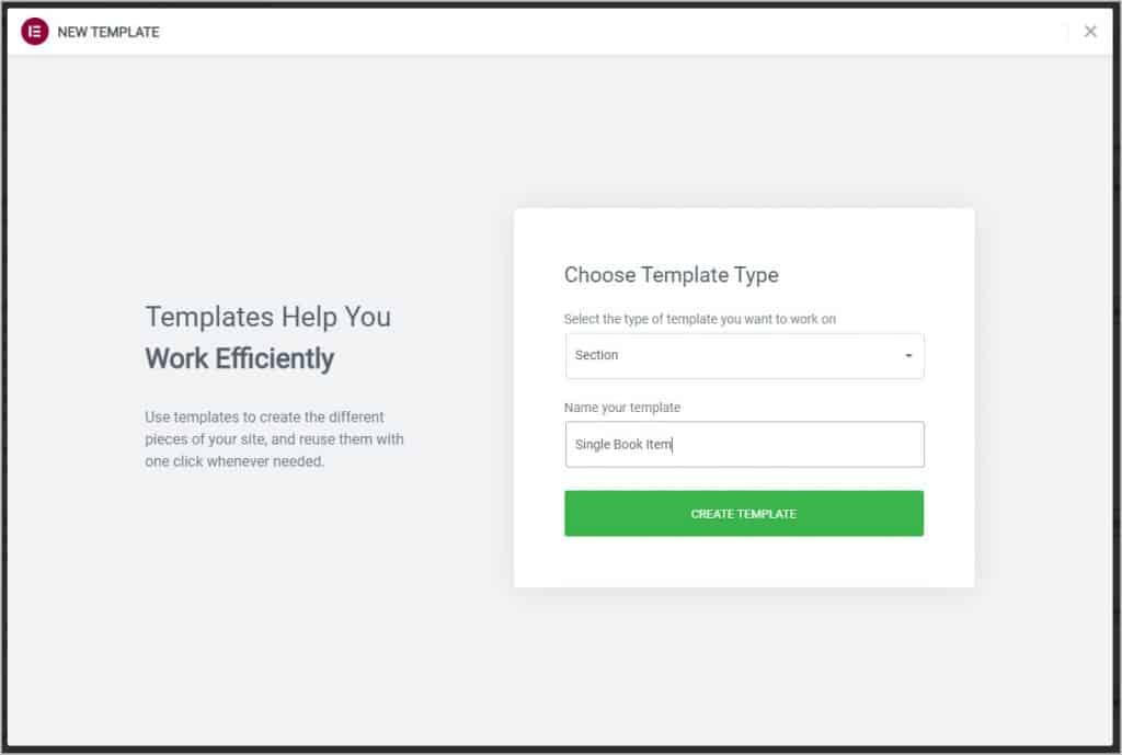 creating single book item template