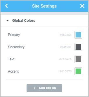 default elementor color palette