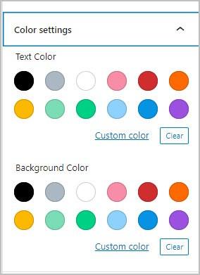 default gutenberg color palette